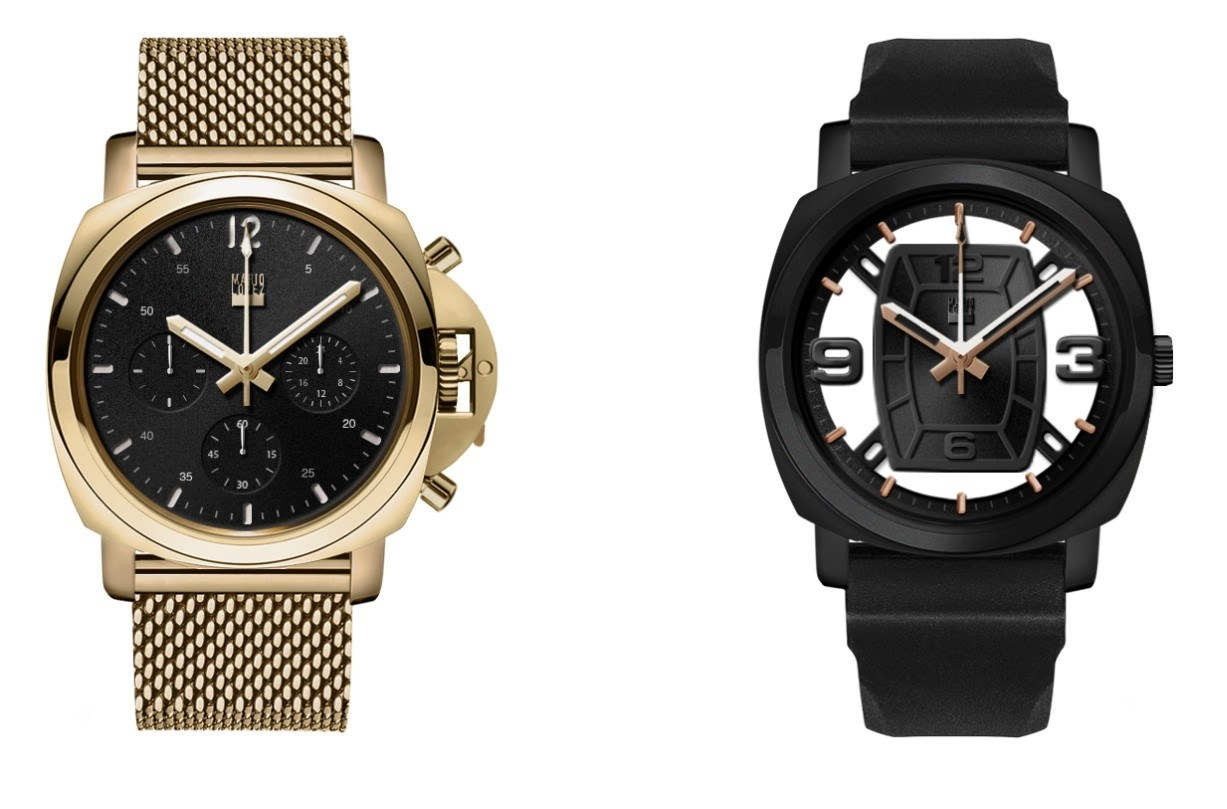 A gold watch and a black watch