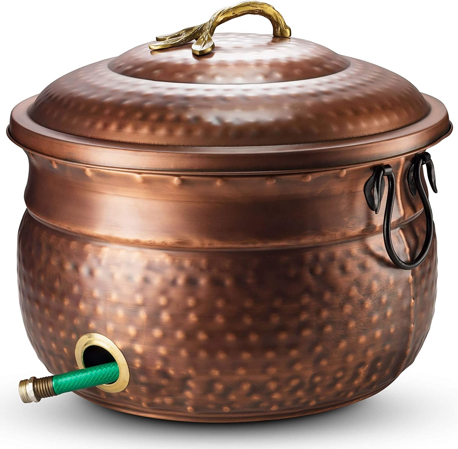 an embossed copper hose pot with a lid