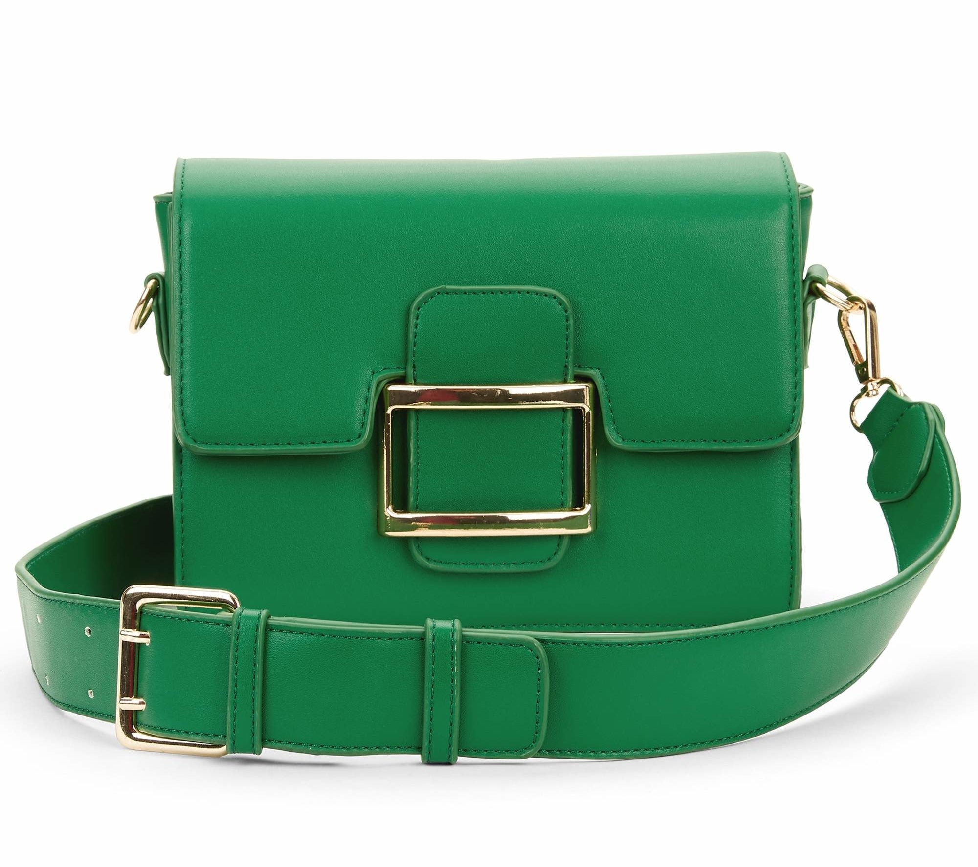 The small green bag with gold buckle