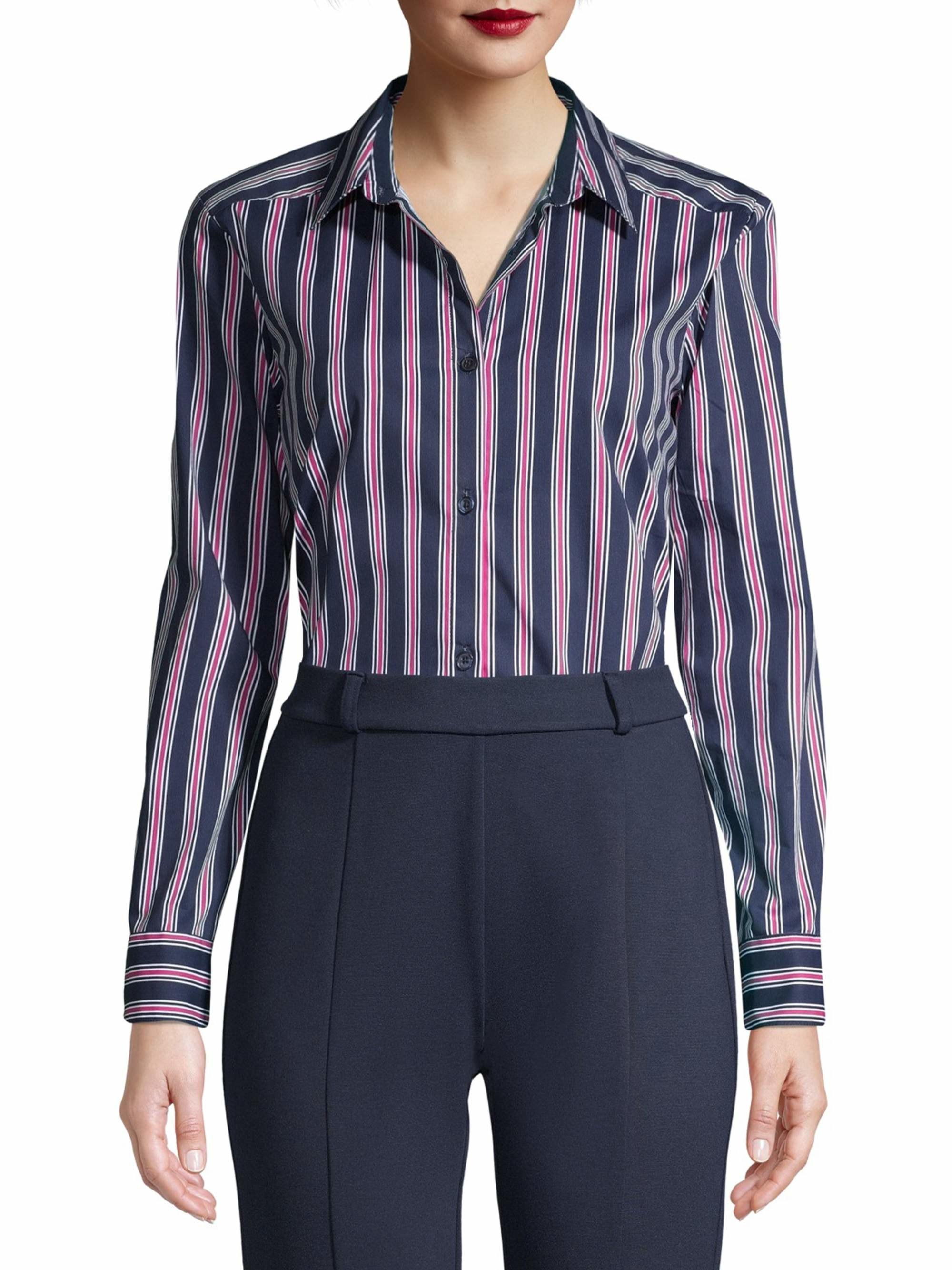 A model wearing the long-sleeve navy and hot pink striped shirt