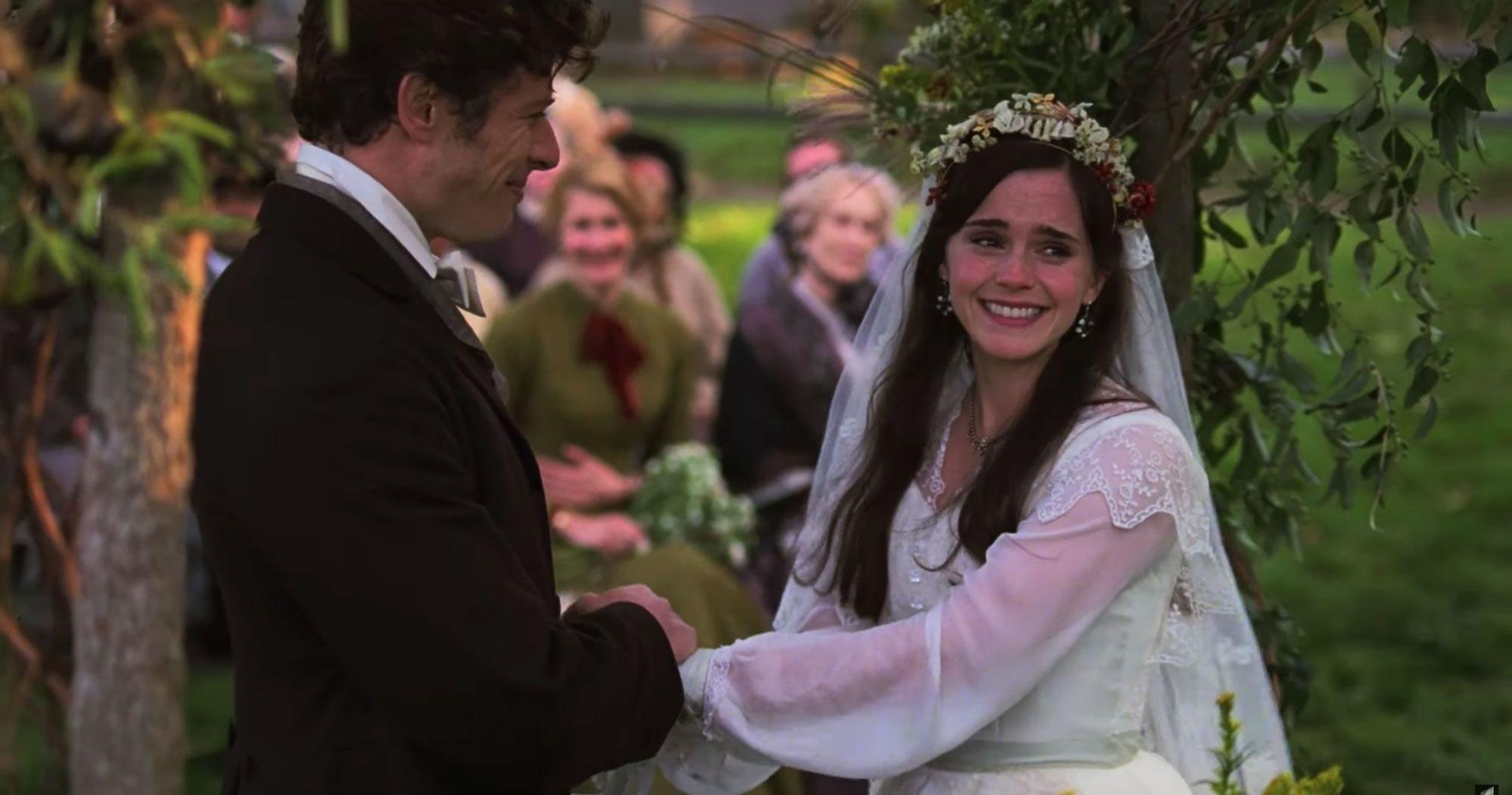 An emotional Emma Watson as Meg getting married in Little Women