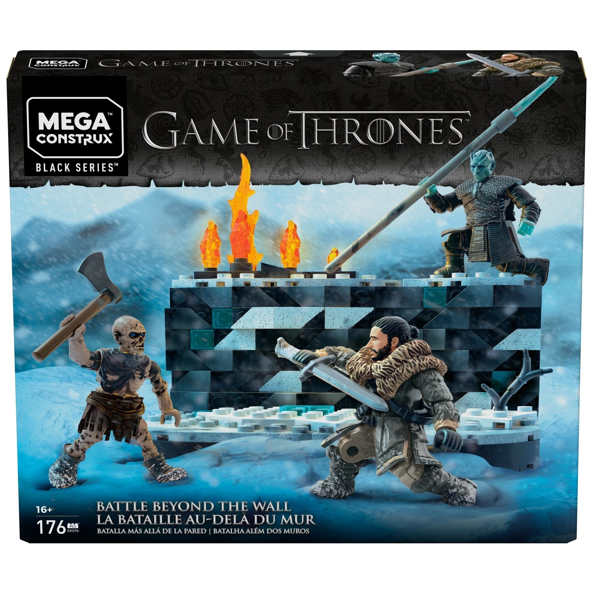 The set, which includes a wall and figures of Jon Snow, The Night King, and an undead wight
