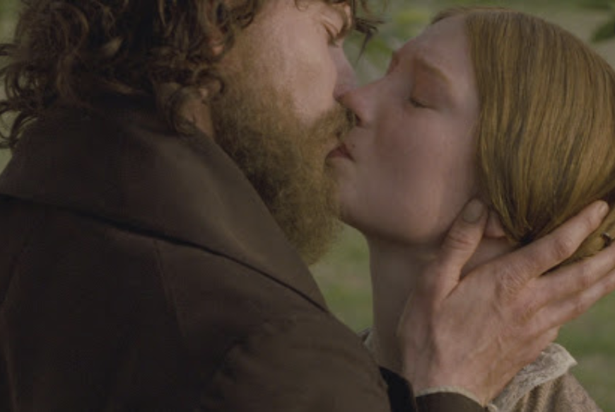 Mia Wasikowska and Michael Fassbender kiss with passion in a Jane Eyre film adaptation