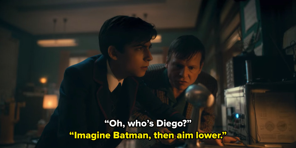 """Elliot asks Five who Diego is, to which he responds """"Imagine Batman, then aim lower"""""""