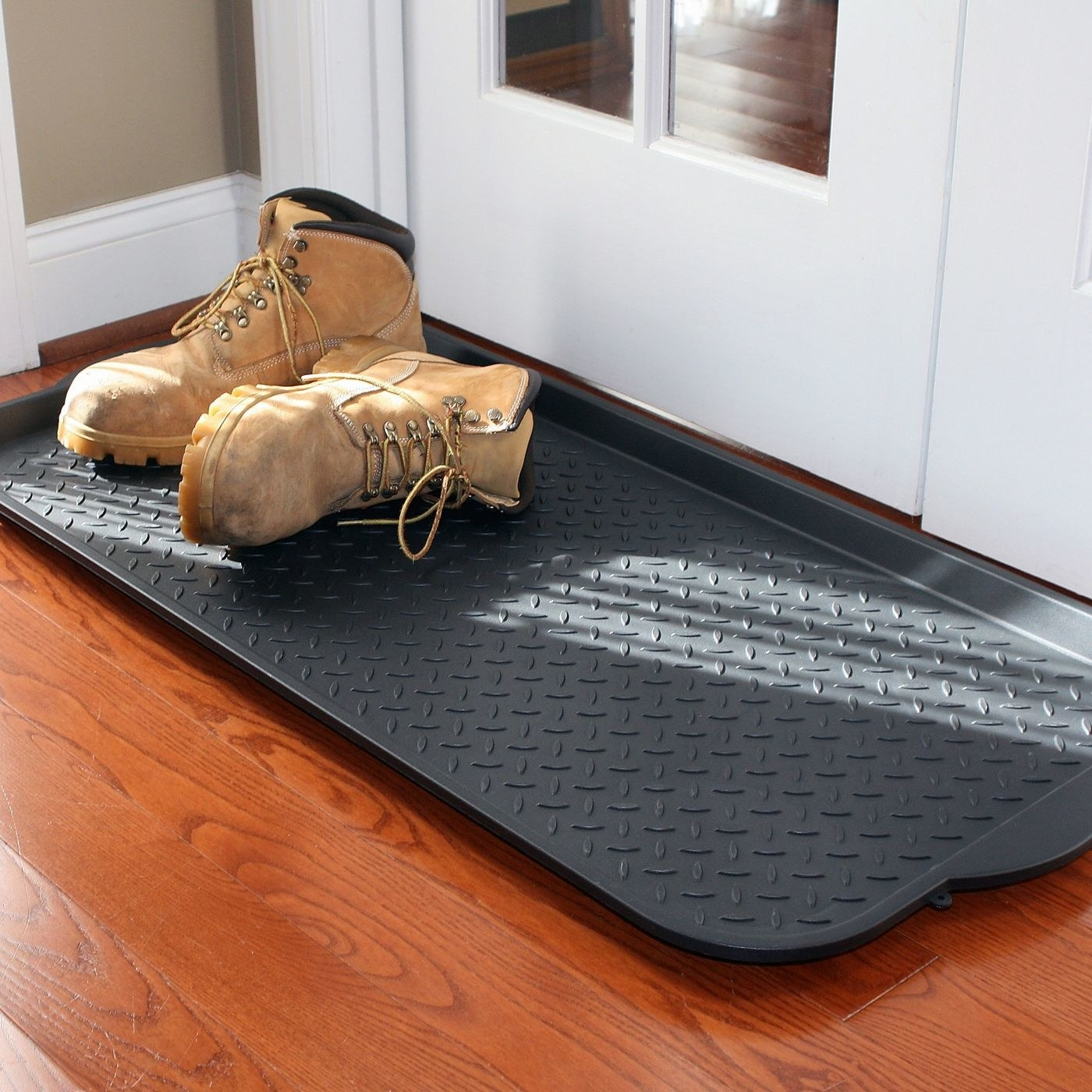 The plastic floor mat with biking books on it