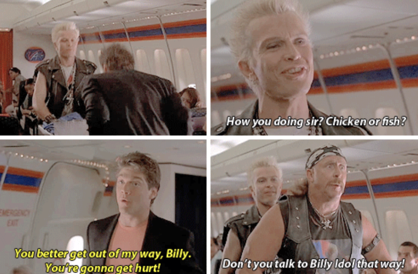 Billy idol pushing Glenn out of the way on the airplane with determination