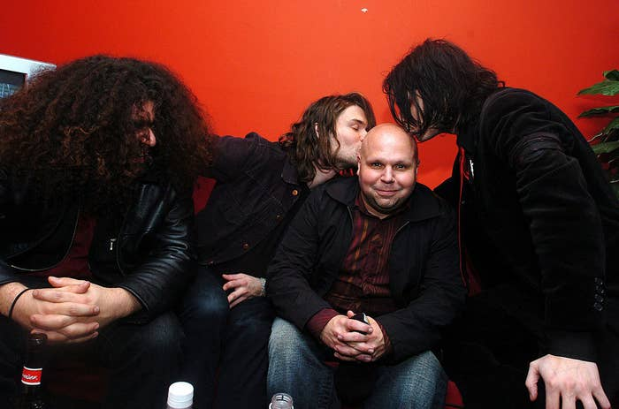 Coheed and Cambria's Claudio Sanchez with Taking Back Sunday's Adam Lazzara, My Chemical Romance's Gerard Way, and Matt Pinfield