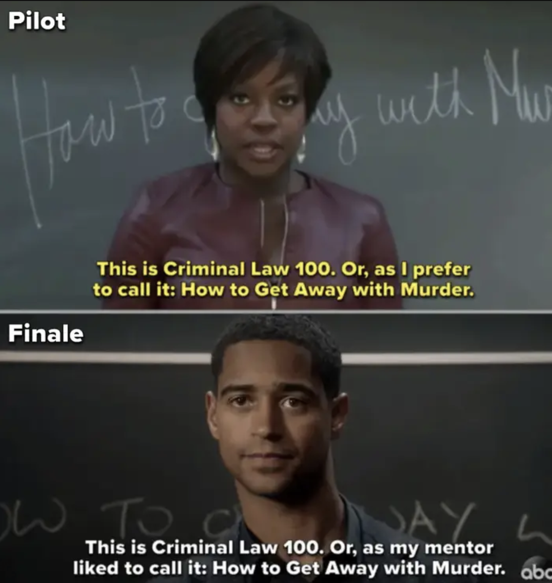 Side-by-side of Annalise and Wes teaching in the pilot and finale