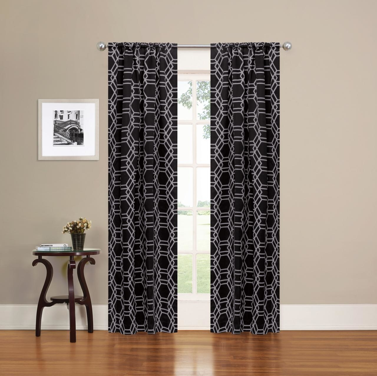 The black and white geometric print curtains