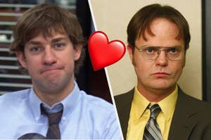 Jim and Dwight from the Office sitting next to each other