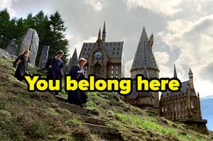 """Ron, Hermione, and Harry Potter run down the hill with Hogwarts in the back and labeled """"You belong here"""""""