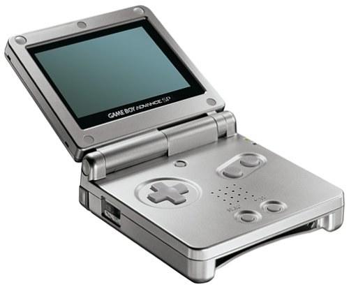 A silver Game Boy Boy Advance SP.