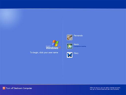 A Windows XP login page.