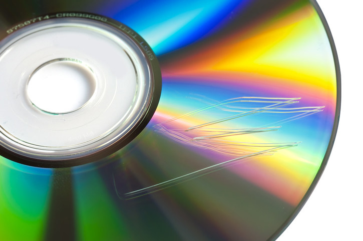 Close-up of a scratched a CD.
