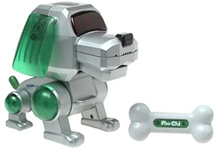 Poo Chi Robot Dog with green ears and a tails.