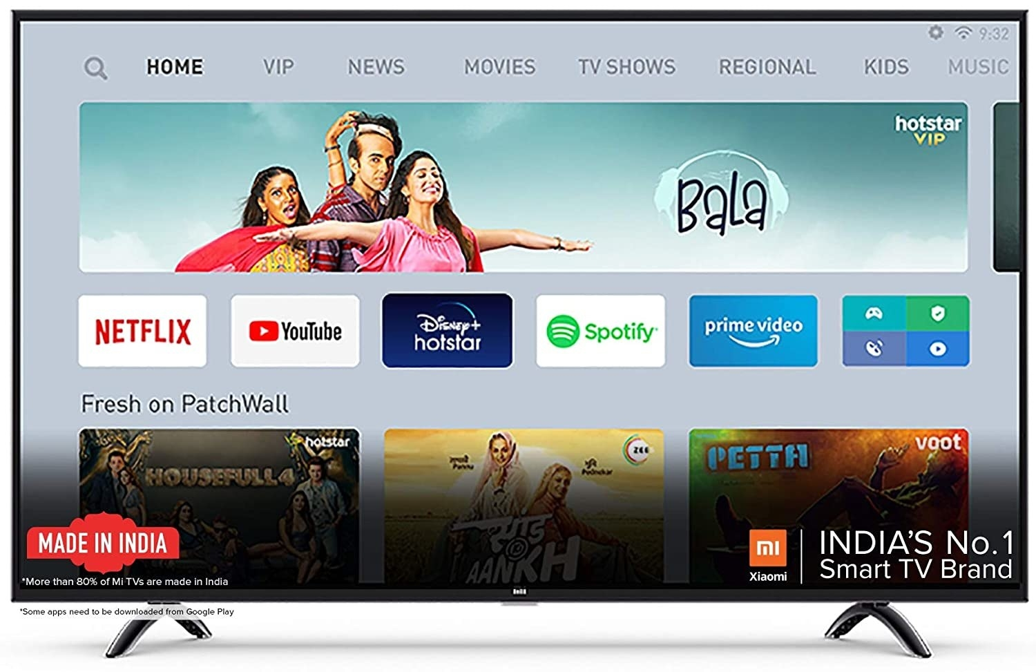 A Mi TV 4X Ultra HD Android LED TV in black.