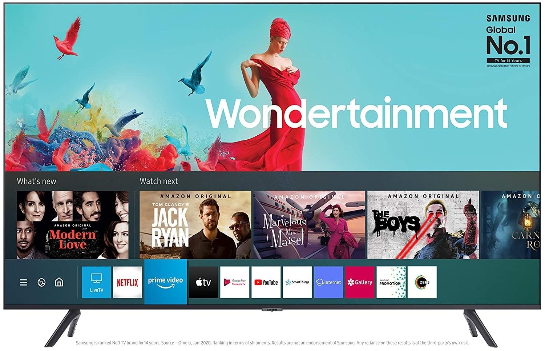A Samsung Wondertainment Series Ultra HD LED Smart TV in titan gray.