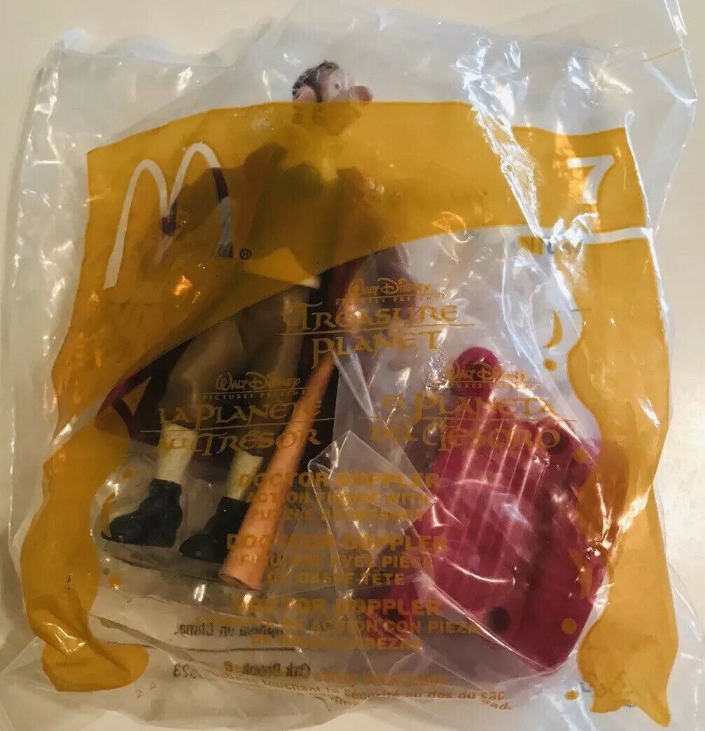 A photo of a Disney Treasure Planet Happy Meal toy in it's package.
