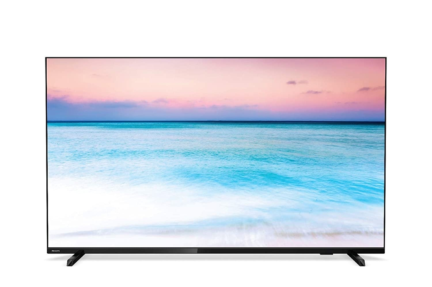 A Philips 6600 Series 4K Ultra HD LED Smart TV in black.
