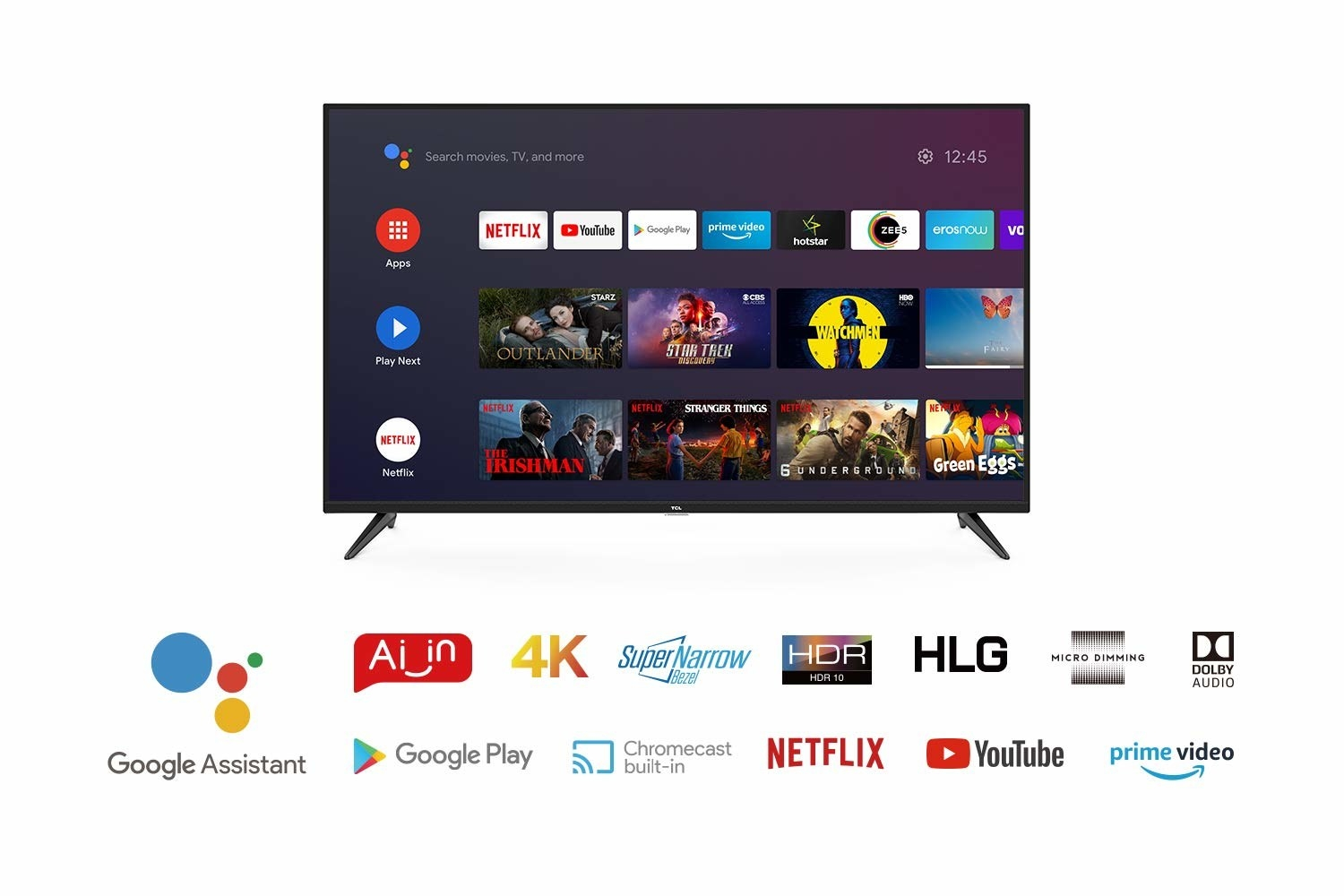 A TCL AI 4K UHD Android Smart QLED TV in black.
