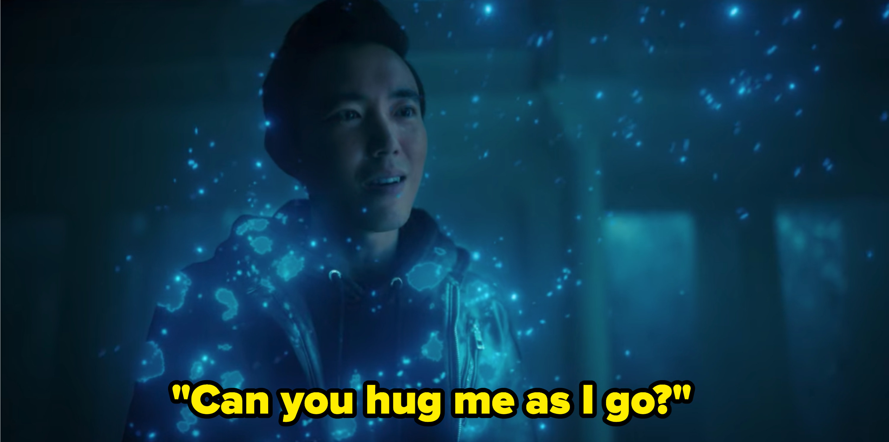 """Blue light surrounds Ben as says, """"Can you hug me as I go?"""""""