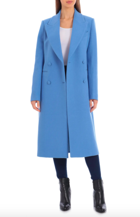 A model wearing the Avec Les Filles double-breasted wool-blend coat in Silverlake blue.