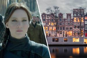 """Katniss from """"Hunger Games"""" is on the left with an Amsterdam waterfront on the right"""