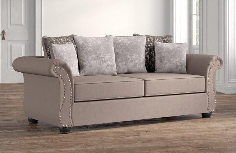 The light gray sofa