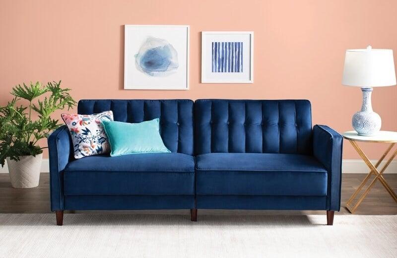 The blue velvet sofa