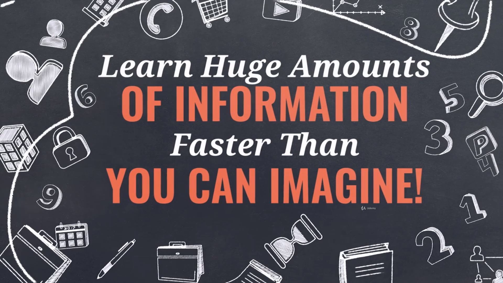 A screenshot of a presentation slide that says learn huge amounts of information faster than you can imagine