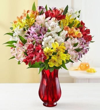 A bouquet of Peruvian lilies in a vase on a counter