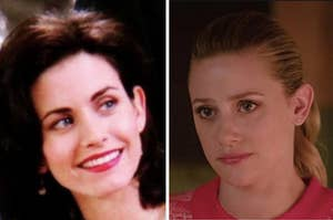 Monica Geller is smiling on the left with Betty Cooper looking serious on the right