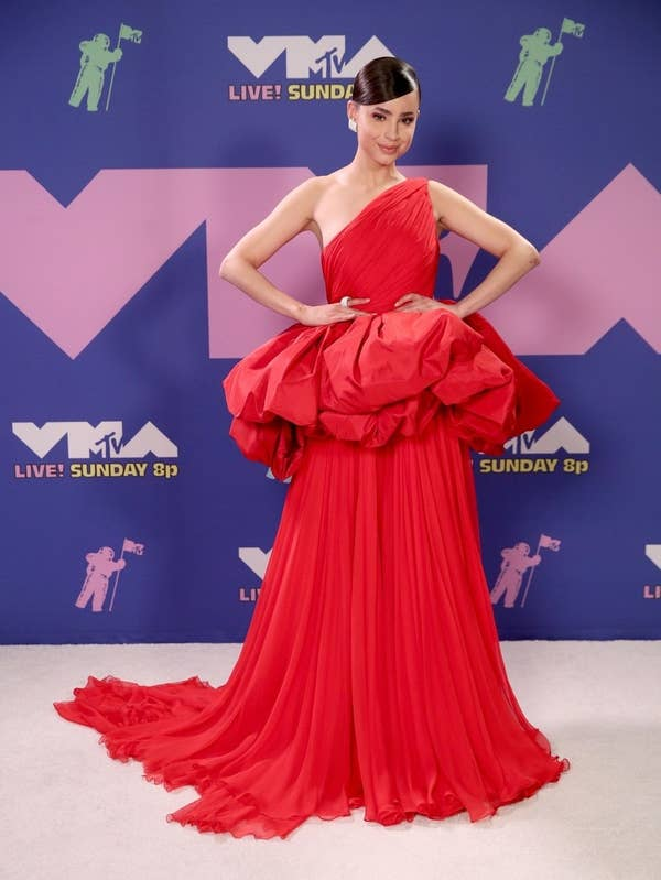 Sofia Carson wore a gown to the VMAs