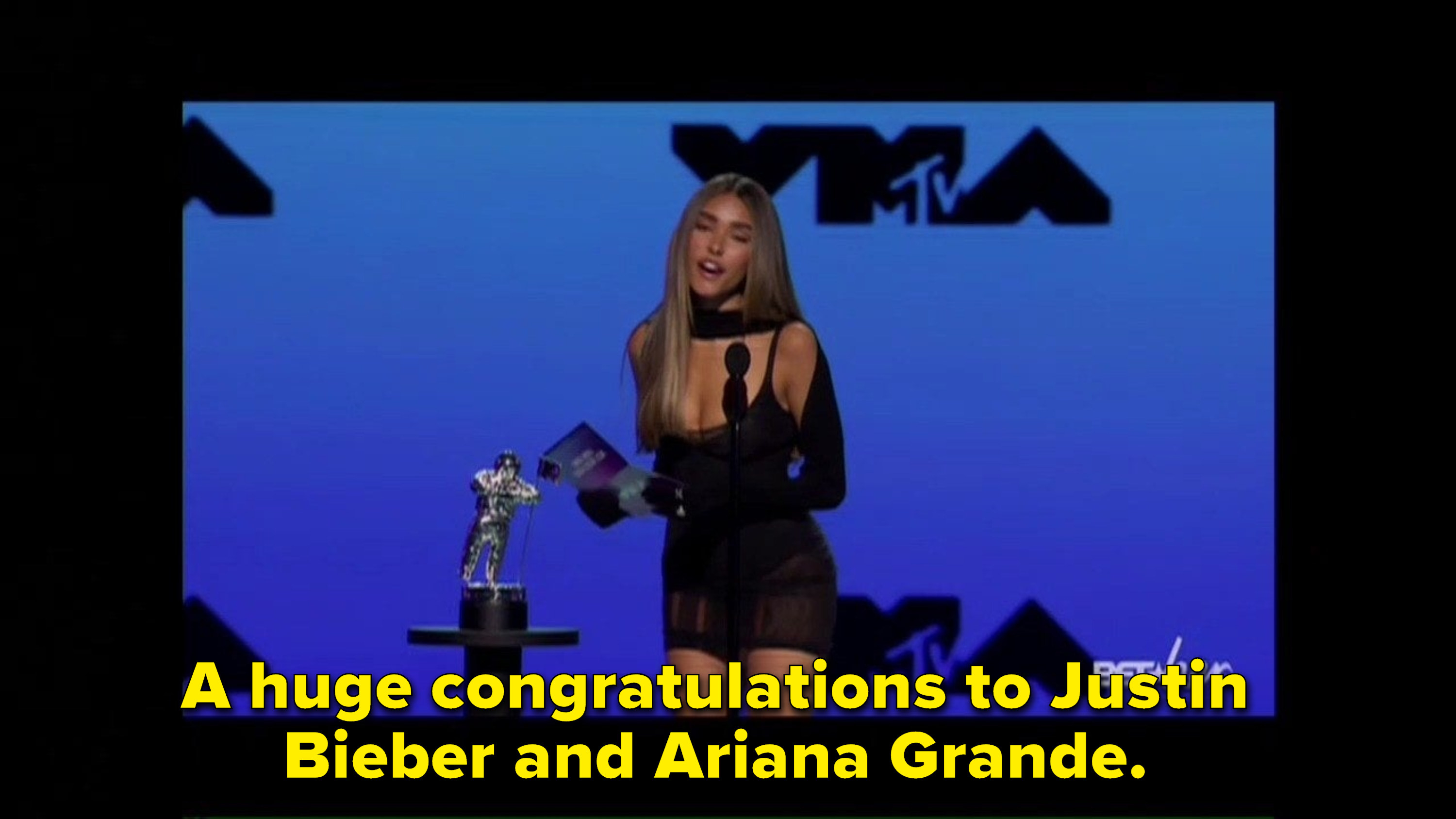 """A huge congratulations to Justin Bieber and Ariana Grande."""