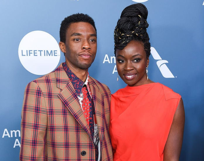 Chadwick Boseman and Danai Gurira together on a red carpet