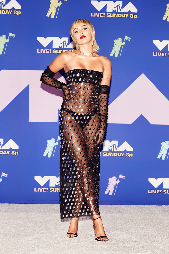 Miley Cyrus wore a see-through dress to the VMAs
