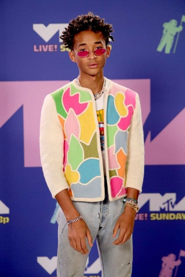 Jaden Smith wore a multi-colored jacked and jeans to the VMAs