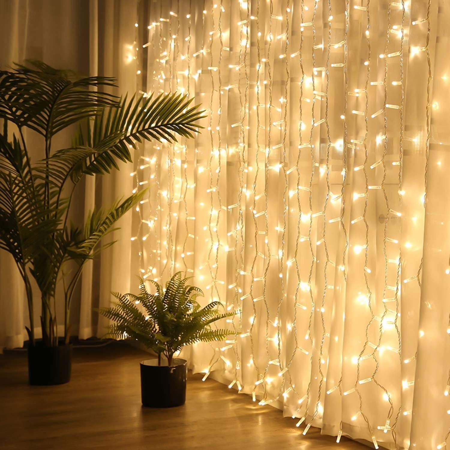 A curtain of lights next to two potted plants