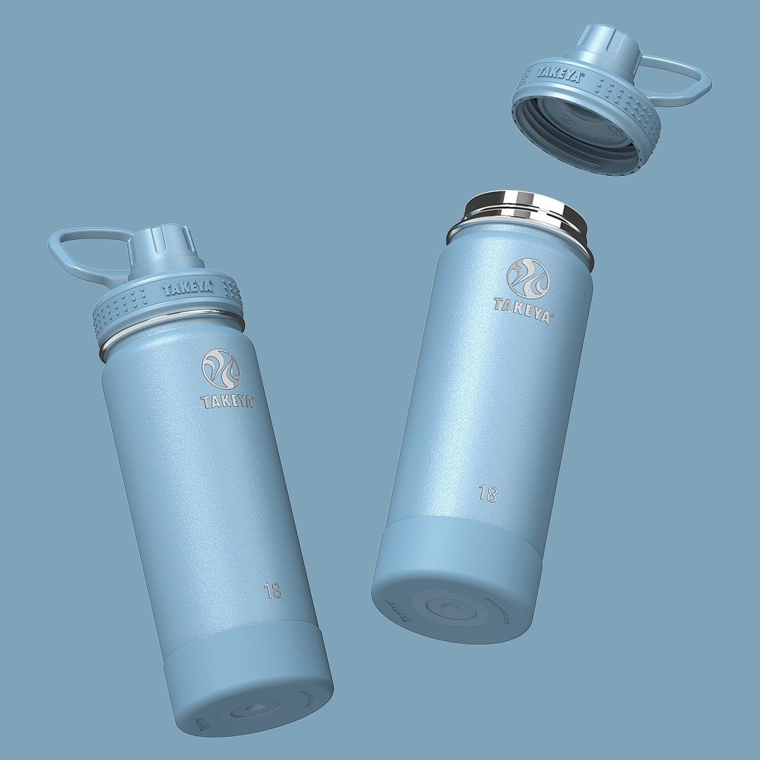 Two blue thermos-like water bottles
