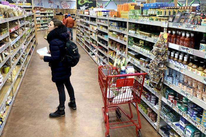 A woman shopping at Trader Joe's