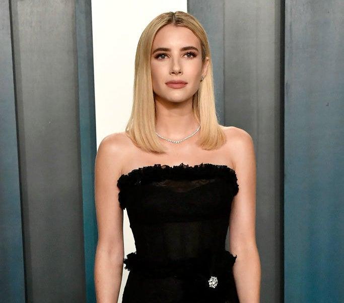 Emma Roberts poses at a Hollywood event