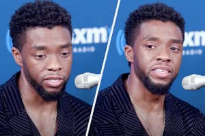 Side by side pics of Chadwick visibly emotional