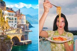Amalfi Coast and Kendall eating spaghetti.