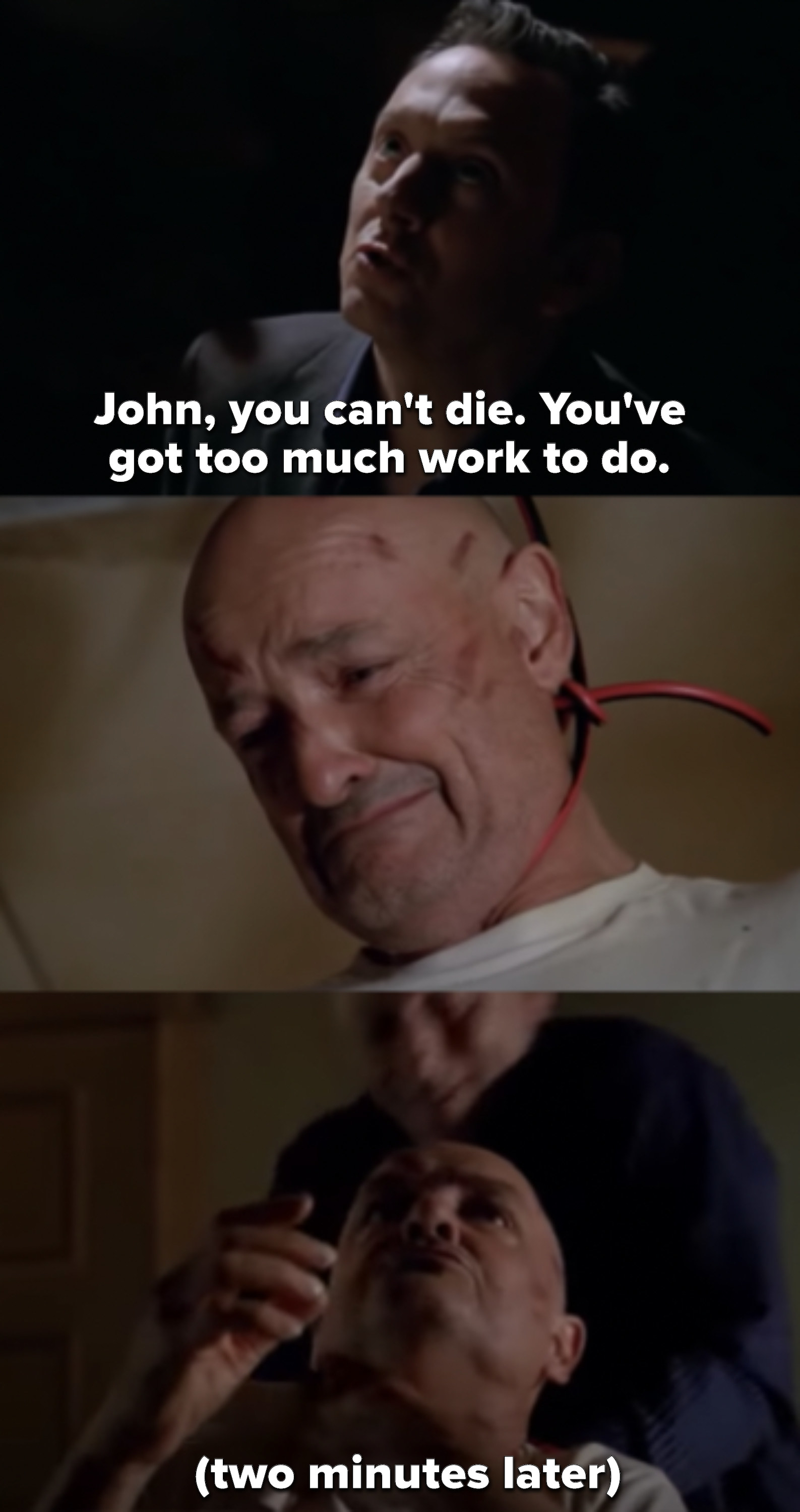 Ben says John can't die because he has too much work to do, and John takes the cord of his neck. Ben then kills him with it