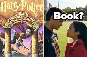 """Harry Potter and the Sorcerer's Stone"" is on the left with Peter and Lara Jean from ""To All The Boys"" on the right labeled ""Book?"""