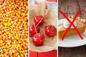 """On the left, candy corn, in the middle, four candy apples, and on the right, a slice of pumpkin pie topped with whipped cream with a bold """"x"""" going through it"""