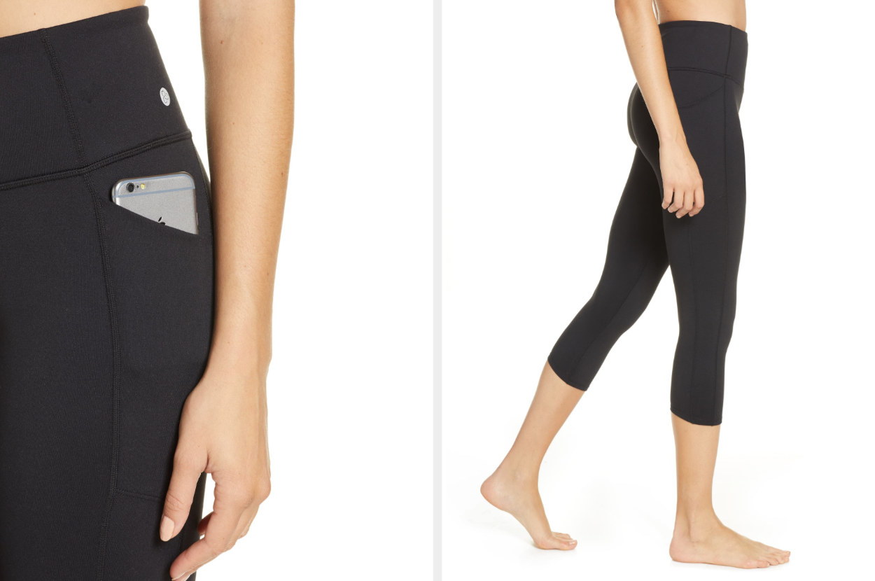Split-image of model wearing black leggings with phone in hip pocket and side view of legggings that hit at the calf