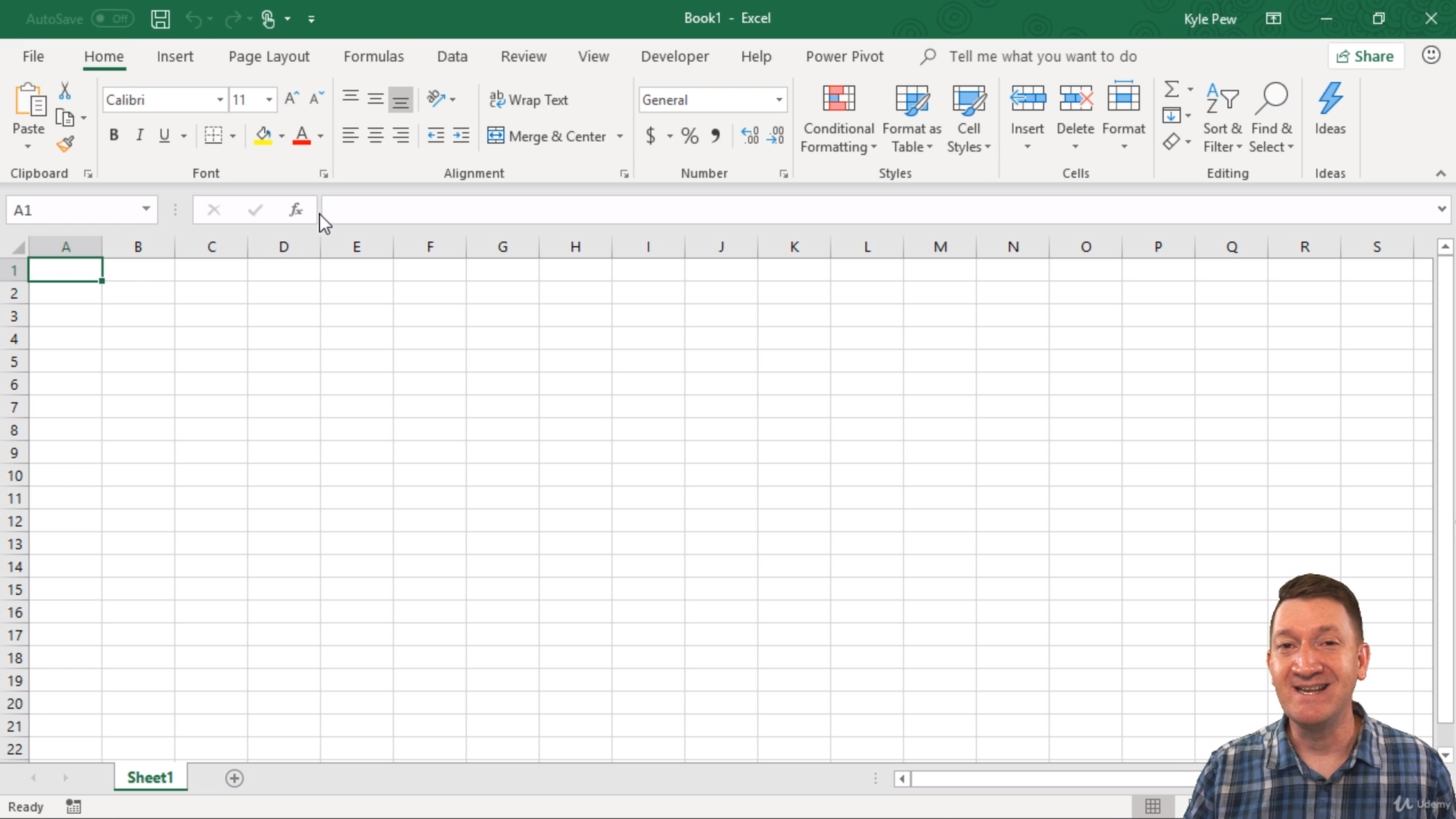A screenshot of a blank Excel spreadsheet with a person in the bottom corner speaking