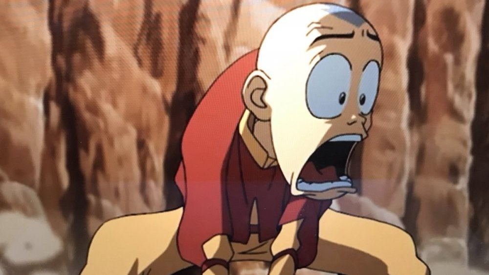 Aang with his mouth wide open in shock