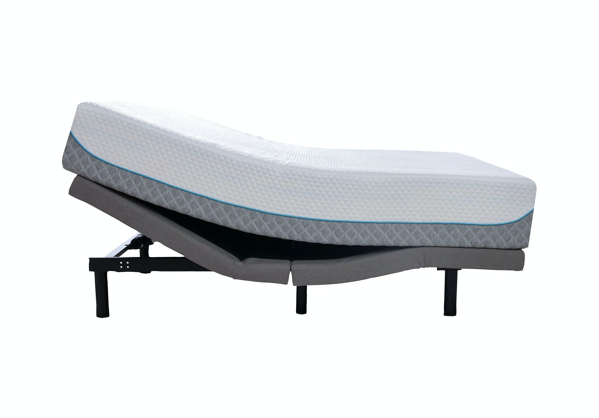 Idle Sleep Premium Adjustable Base with back risen and a mattress on top of it